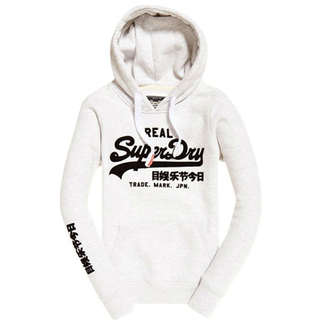 Ladies Superdry Vintage Logo Embossed Flock Entry Hood in Ice Marl