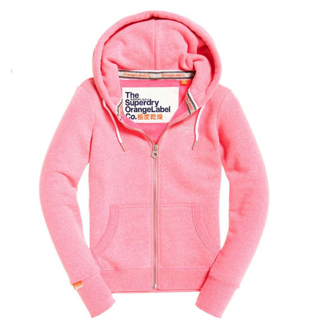 Ladies Superdry Orange Label Ziphood in Blizzard Pink Snowy