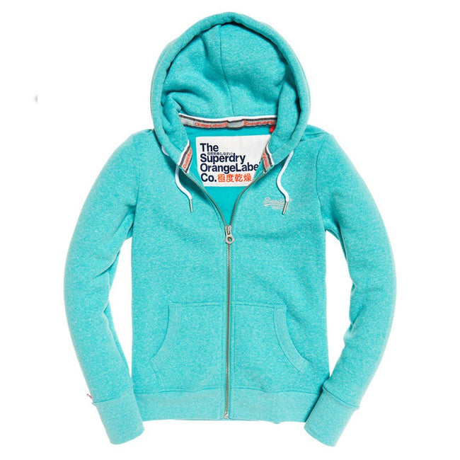 Ladies Superdry Orange Label Ziphood in Lolly Teal Snowy