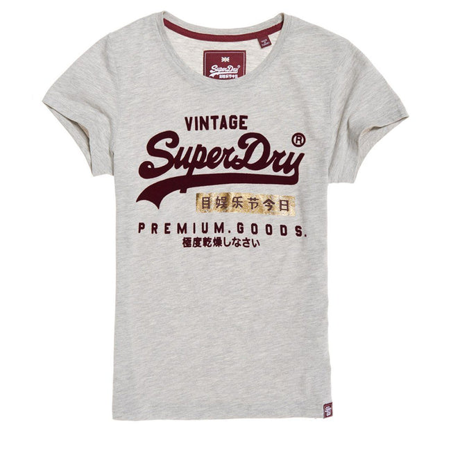 Ladies Superdry Premium Goods Sport Entry Tee in Grey Marl