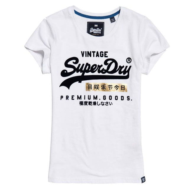 Ladies Superdry Premium Goods Sport Entry Tee in Optic