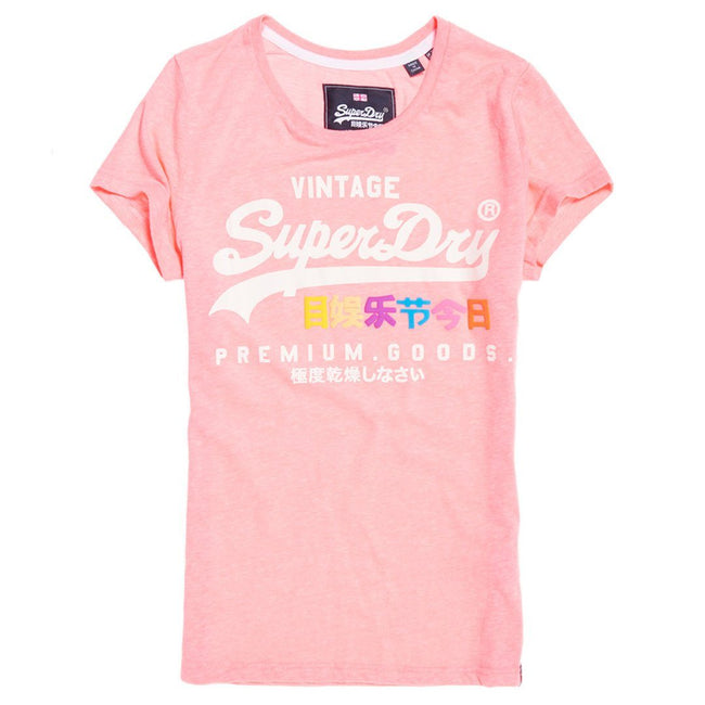 Ladies Superdry Premium Goods Puff Entry Tee in Neon Pink Snowy