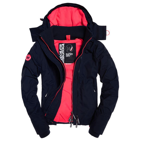 Ladies Superdry Artic Hood Popzip Windcheater in Denim Marl / Coral Punch Coats & Jackets Ladies Superdry