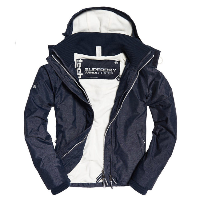 Ladies Superdry Artic Hood Popzip Windcheater in Navy / Ecru
