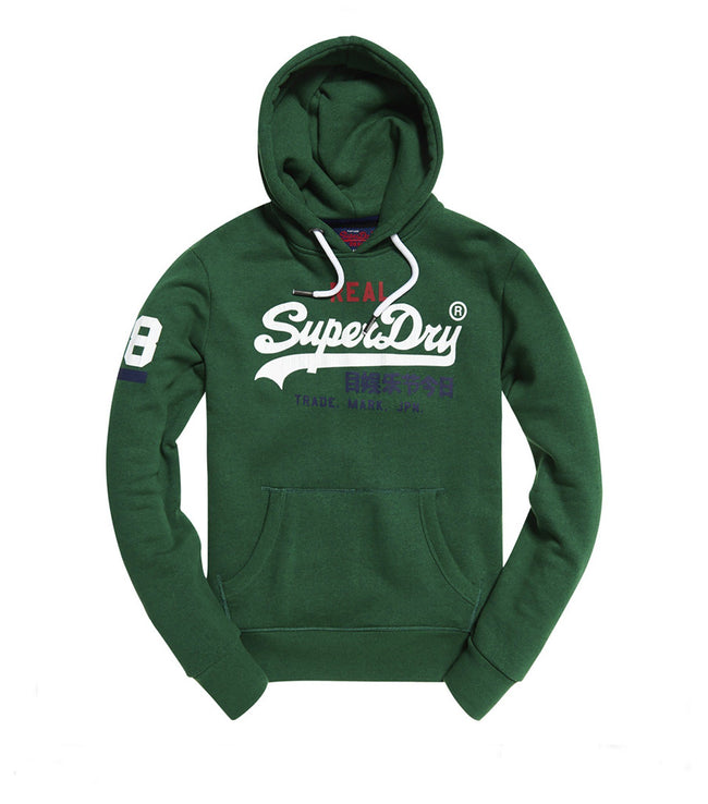Superdry Vintage Logo Tri Hood in Bright Mid West Green Grit