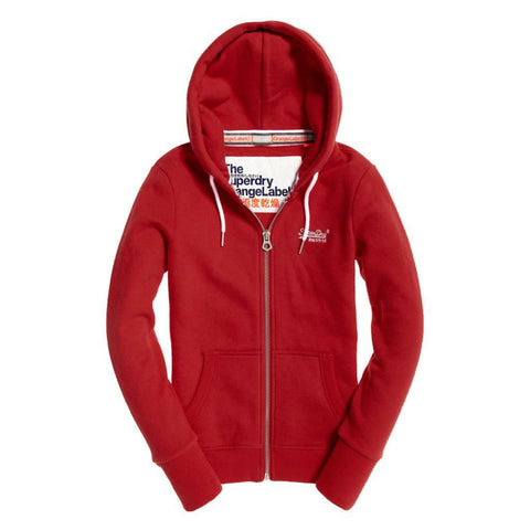 Ladies Superdry Orange Label Ziphood in Rich Scarlet Hoodies Ladies Superdry
