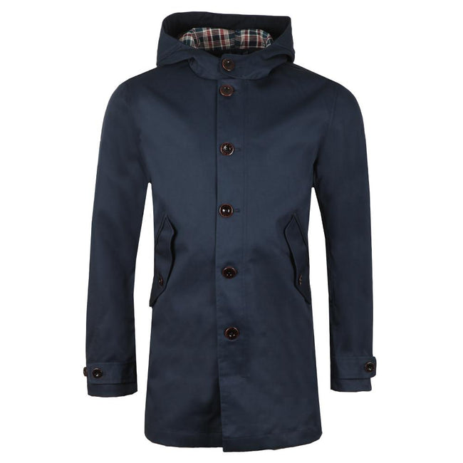 Pretty Green Bonded Hooded Parka in Navy