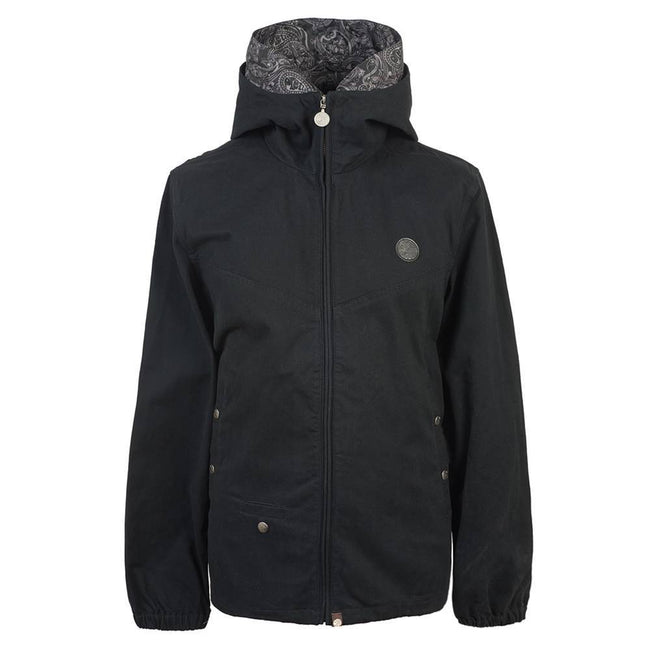 Pretty Green Cotton Zip Up Hooded Jacket in Black