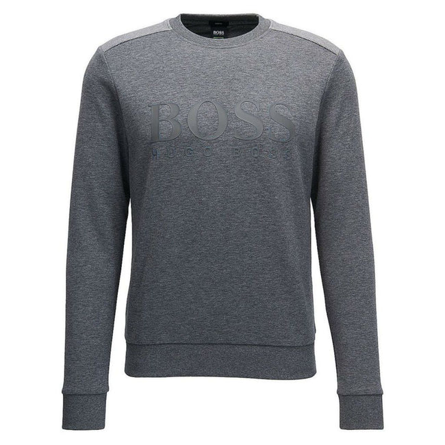 BOSS Athleisure Salbo Crew Neck 3D Logo Sweatshirt in Grey Jumpers BOSS