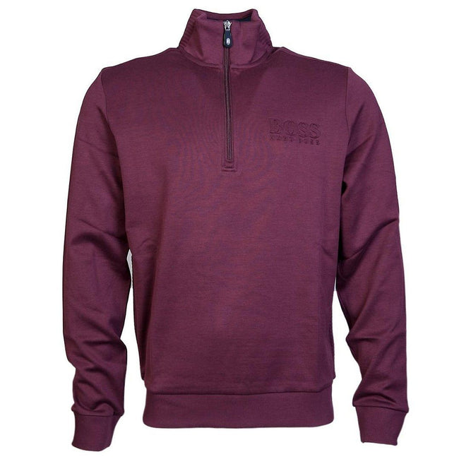 BOSS Athleisure Quarter Zip Sweatshirt in Burgundy Jumpers BOSS