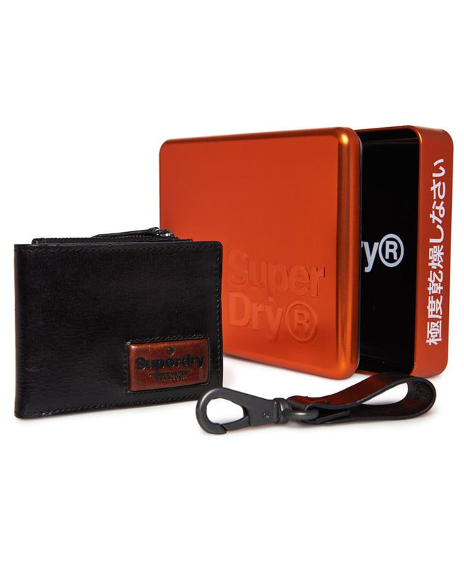 Superdry Super Jackson Wallet and Key Ring Gift Set in Black