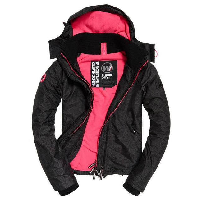 Ladies Superdry Artic Hood Popzip Windcheater in Black Linear Marl / Hot Pink