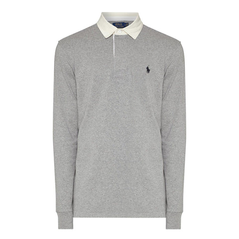 Ralph Lauren Long Sleeved Rugby Shirt in Grey Long Sleeve Tops Ralph Lauren