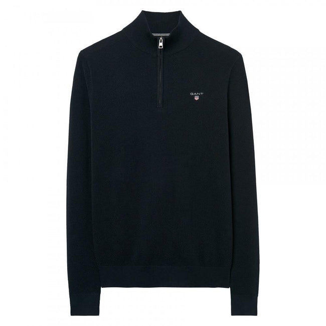 Gant Cotton Pique Half Zip in Black Jumpers Gant