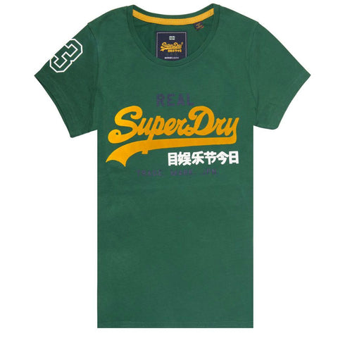 Ladies Superdry Vintage Logo Tri Colour Entry Tee in Pine Green T-Shirts Ladies Superdry