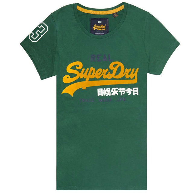 Ladies Superdry Vintage Logo Tri Colour Entry Tee in Pine Green