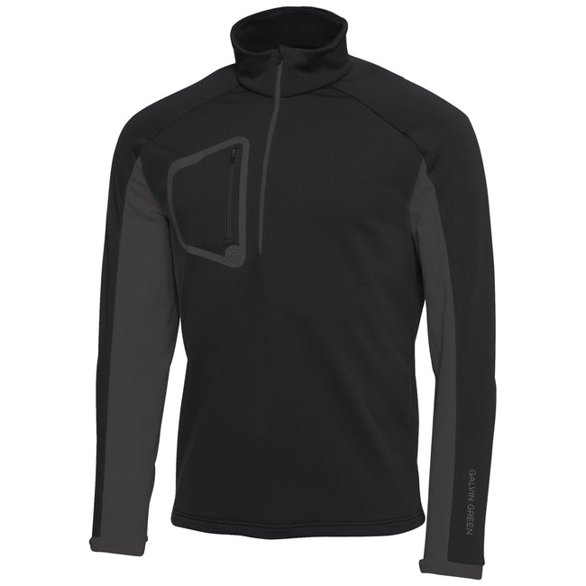 Galvin Green Diego Half Zip Insula Pullover in Black / Iron Grey
