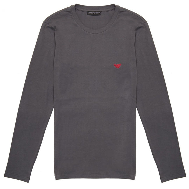 Emporio Armani Crew Neck Long Sleeved T-Shirt in Grey
