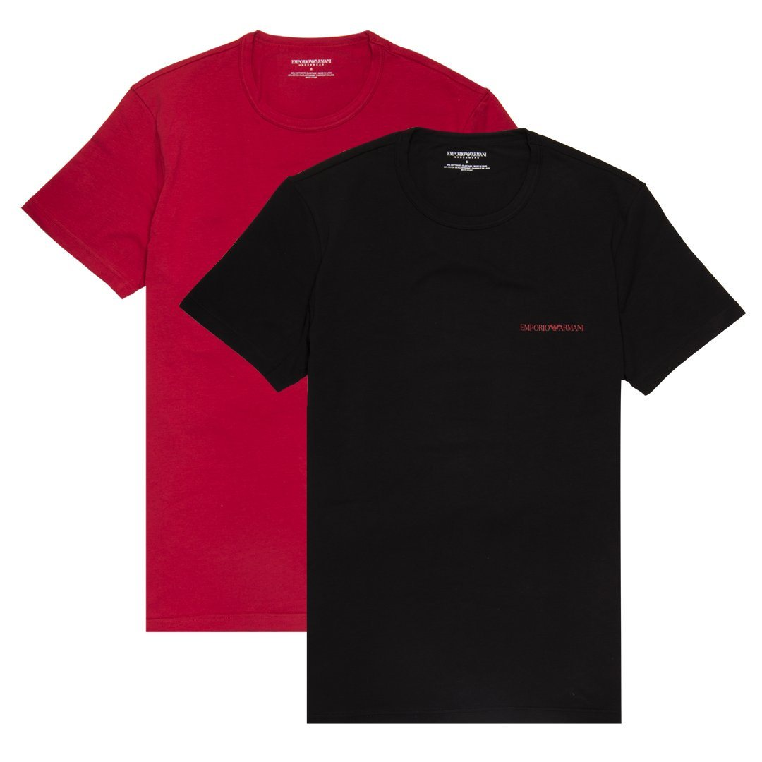 Emporio Armani 2 Pack Crew Neck T-Shirts in Black / Red