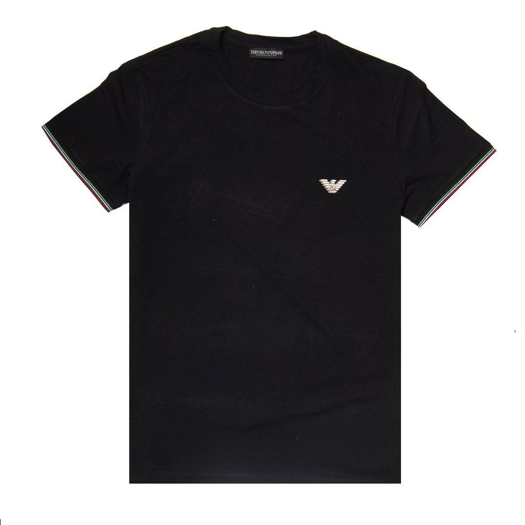 Emporio Armani Crew Neck Short Sleeved T-Shirt  in Black