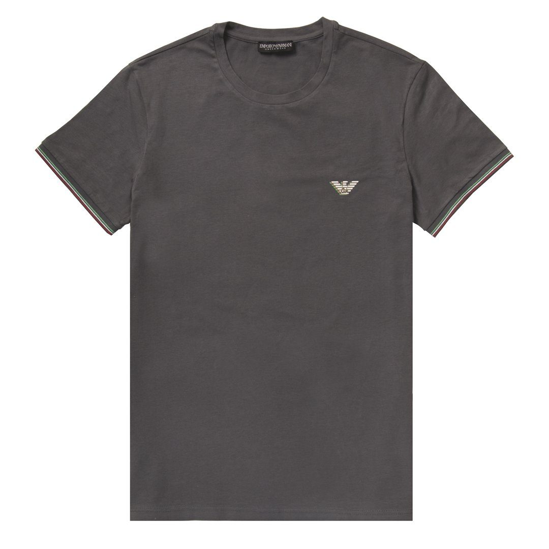 Emporio Armani Crew Neck Short Sleeved T-Shirt in Anthracite Grey