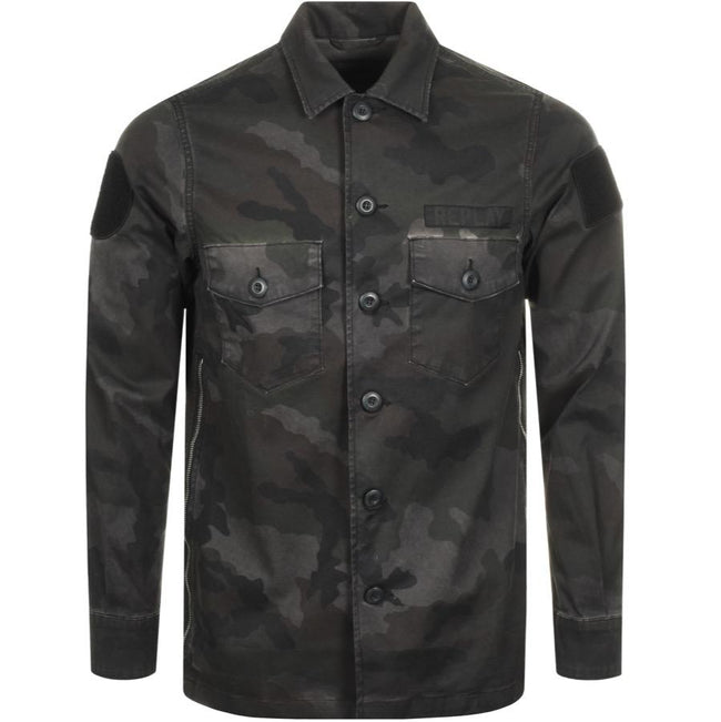 Replay Camouflage Overshirt Jacket in  Green