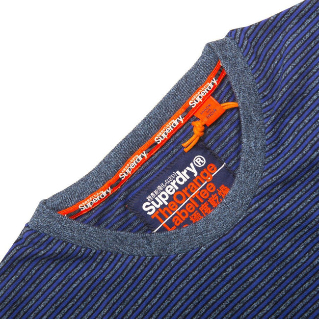 SUPERDRY ORANGE LABEL VINTAGE SHORT SLEEVED T-SHIRT IN COBALT/GREY MELANGE