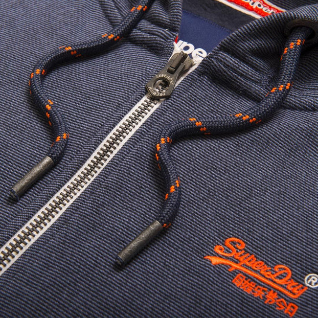 Superdry Orange Label Zip hood in Abyss Navy Feeder Stripe