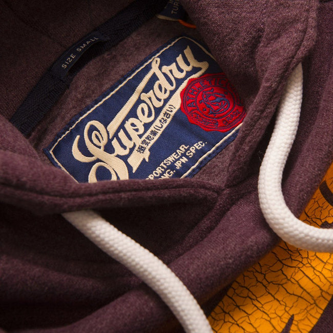 Superdry Academy Athletics Hood in Fig Marl Hoodies Superdry