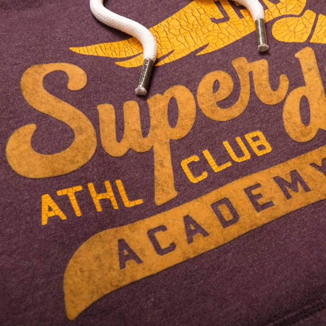 Superdry Academy Athletics Hood in Fig Marl