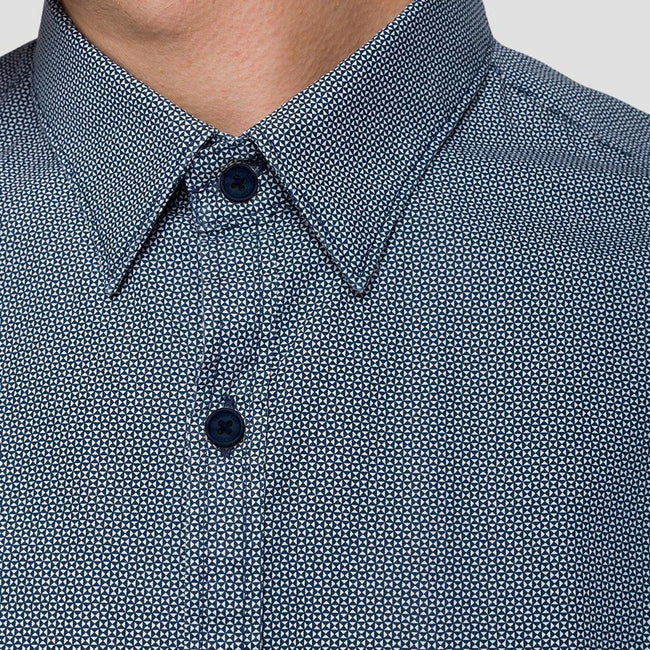 Replay Poplin Triangles Print Shirt in Blue