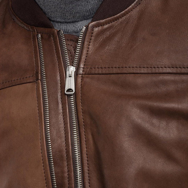 Replay Padded Crust Leather Bomber Jacket in Brown