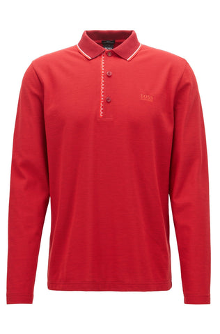 BOSS Athleisure Slim Fit Pleesy Polo Shirt in Red Polo Shirts BOSS