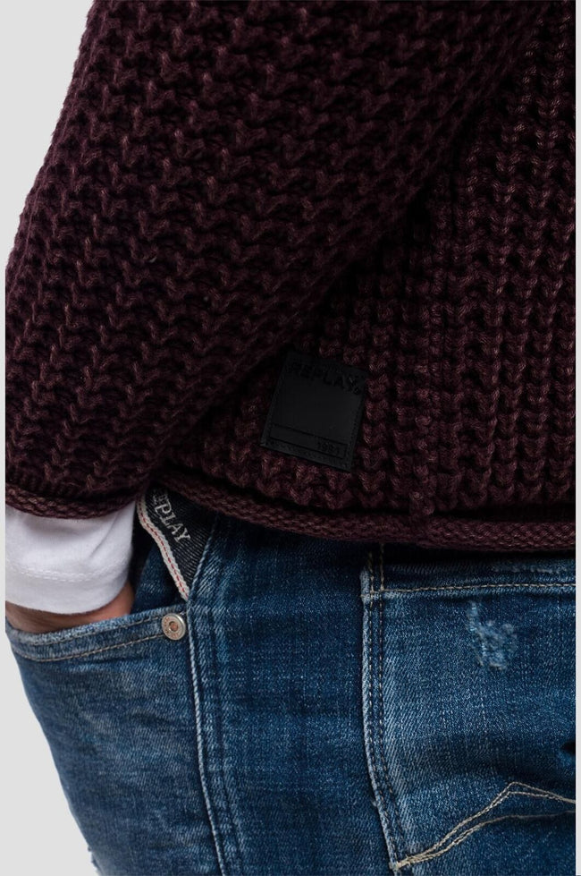 Replay Cotton Waffle Knit Jumper in Burgundy Jumpers Replay