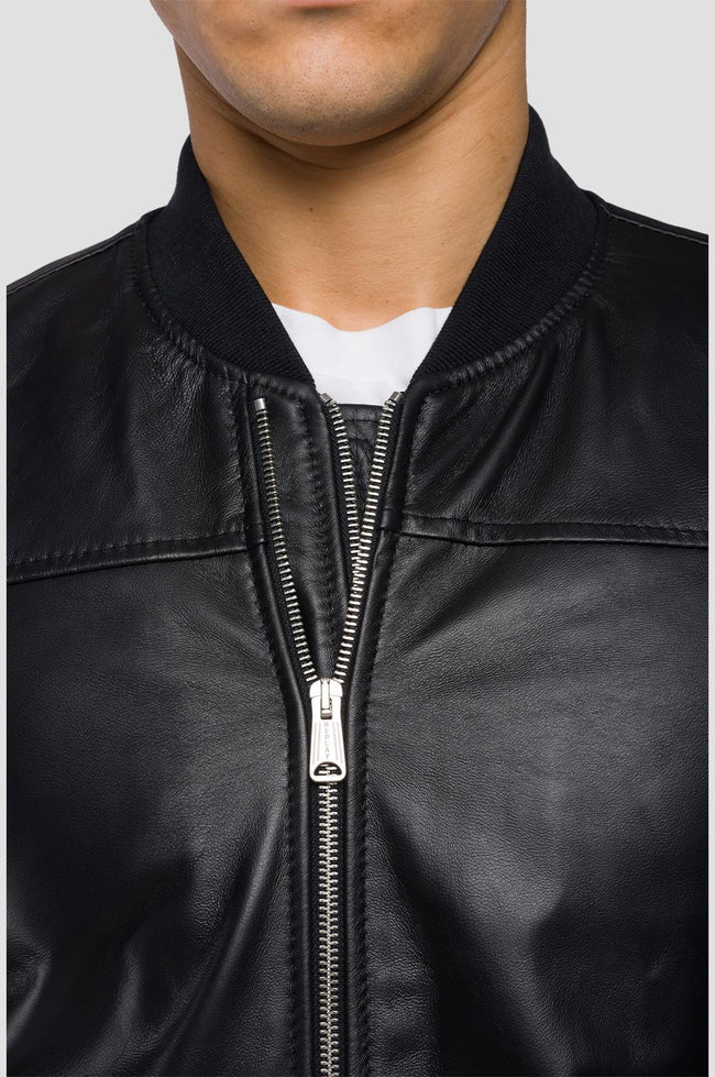Replay Padded Crust Leather Bomber Jacket in Black