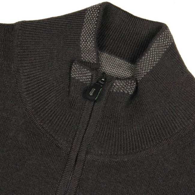 BOSS Athleisure Zime_W17 Quarter Zip Funnel Neck Jumper in Charcoal Jumpers BOSS
