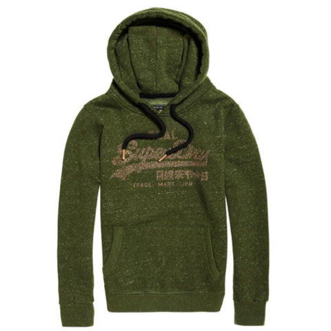 Ladies Superdry Vintage Logo Rhinestone Mix Entry Hood in Washed Khaki Hoodies Ladies Superdry