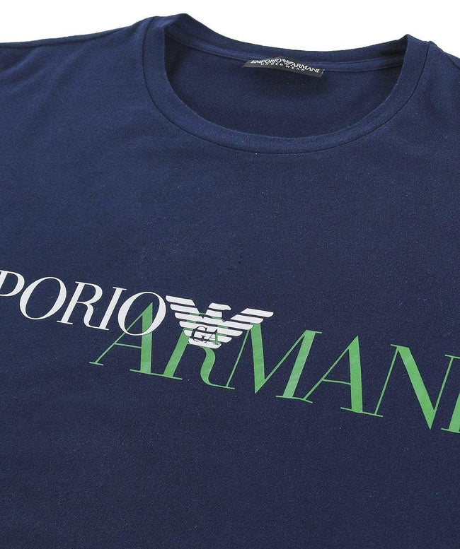 Emporio Armani Crew Neck Long Sleeve T-Shirt in Navy