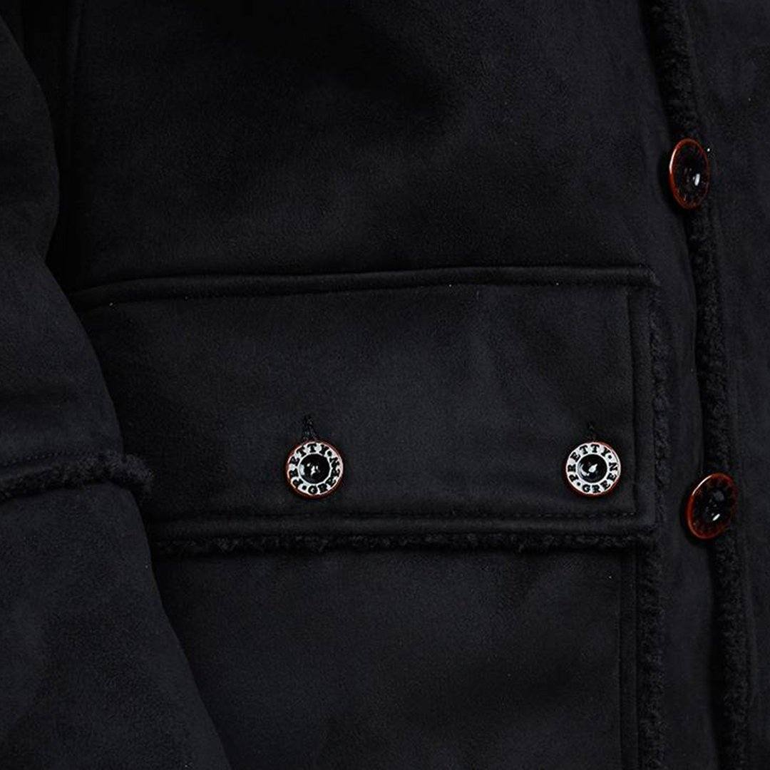 Pretty Green Faux Shearling Coat in Black
