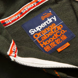 Superdry Orange Label Zip Hood in Emerald Feeder Stripe