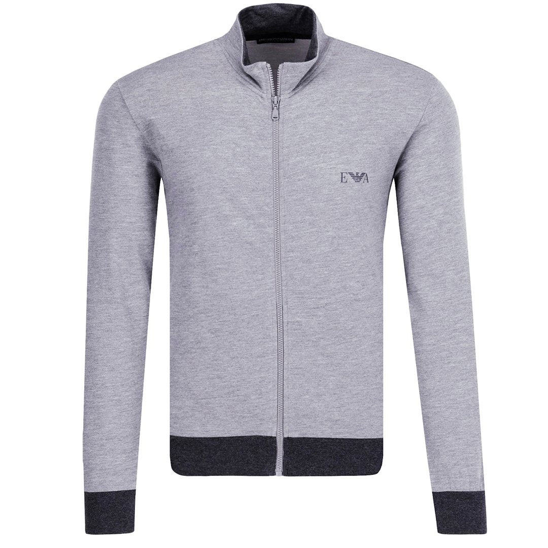 Emporio Armani Long Sleeved Sweater With Zip in Melange Grey