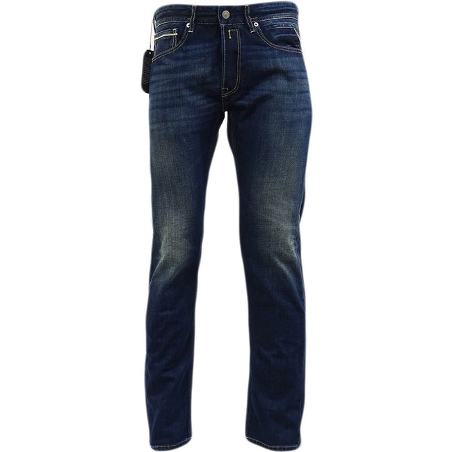 Replay Straight Fitted Grover Jeans in Deep Blue Denim