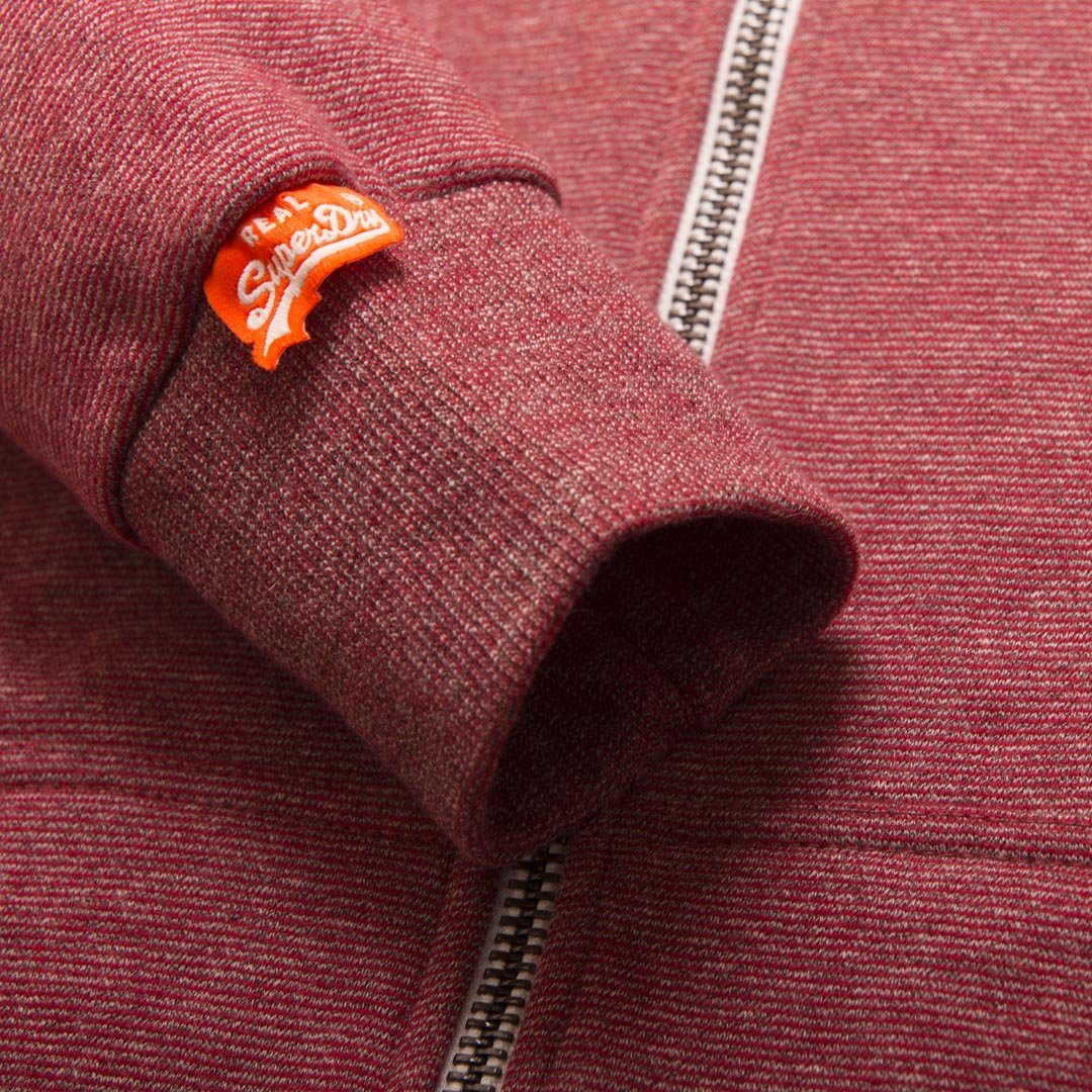 Superdry Orange Label Ziphood in Red Feeder Stripe