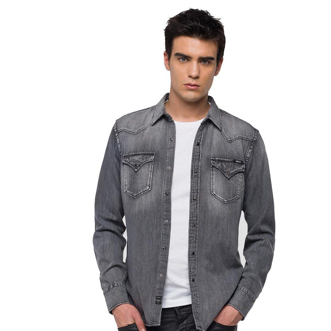 Replay Denim Shirt in Dark Grey