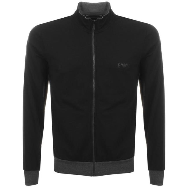 Emporio Armani Long Sleeved Sweater With Zip in Black