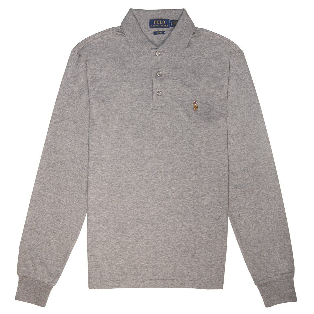 278747c73408 Ralph Lauren Slim Fit Long Sleeved Polo Shirt in Grey Heather – Edwards  Menswear