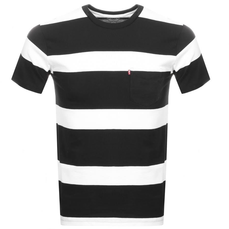 Levi's Striped Pocket T-Shirt in Black / White