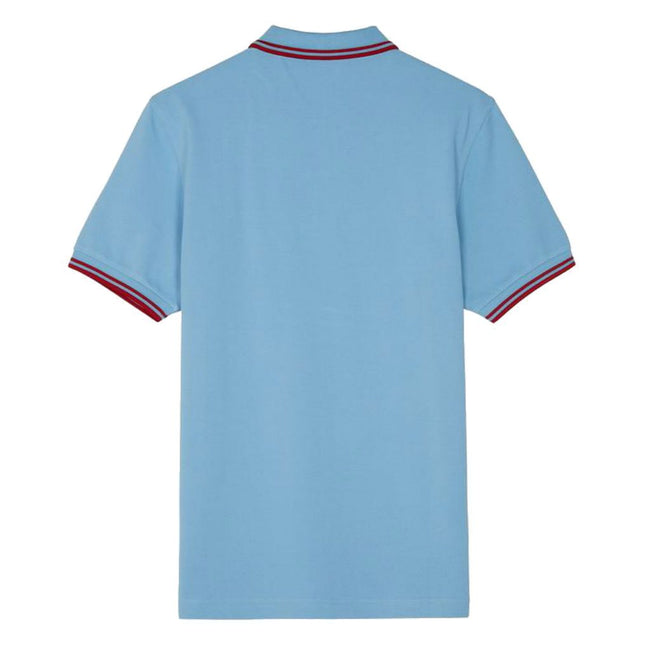 Fred Perry M3600 Twin Tipped Polo Shirt in Sky Blue / Red