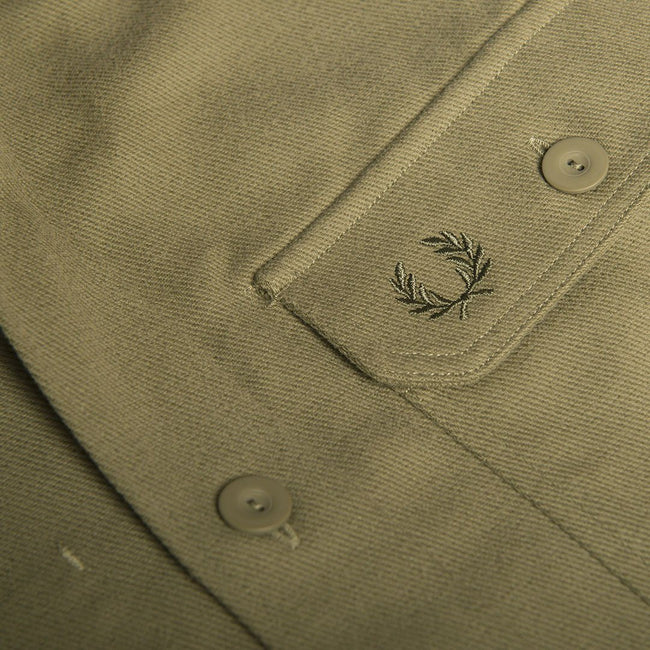 Fred Perry M5520 Twill Utility Overshirt in Olive