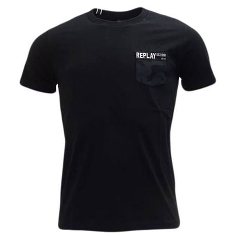 Replay Camo Pocket T-Shirt in Black T-Shirts Replay